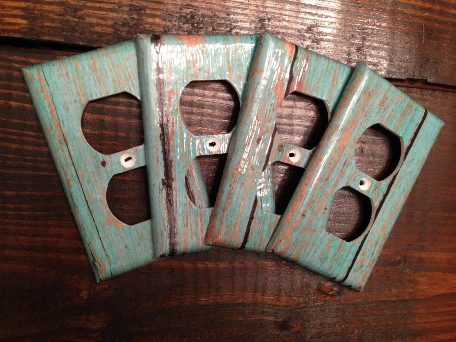 Teal Wood Grain Light Switch And Outlet Covers Rustic