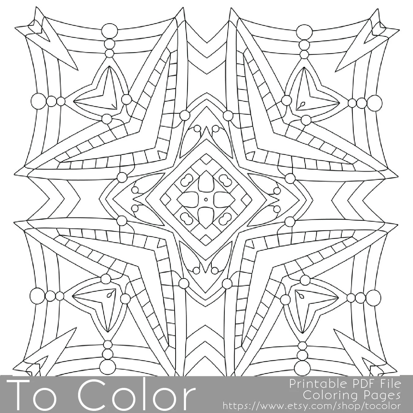 Items similar to Printable Square Mandala Coloring Pages