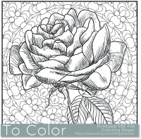 Items similar to Printable Rose Coloring Page for Adults ...