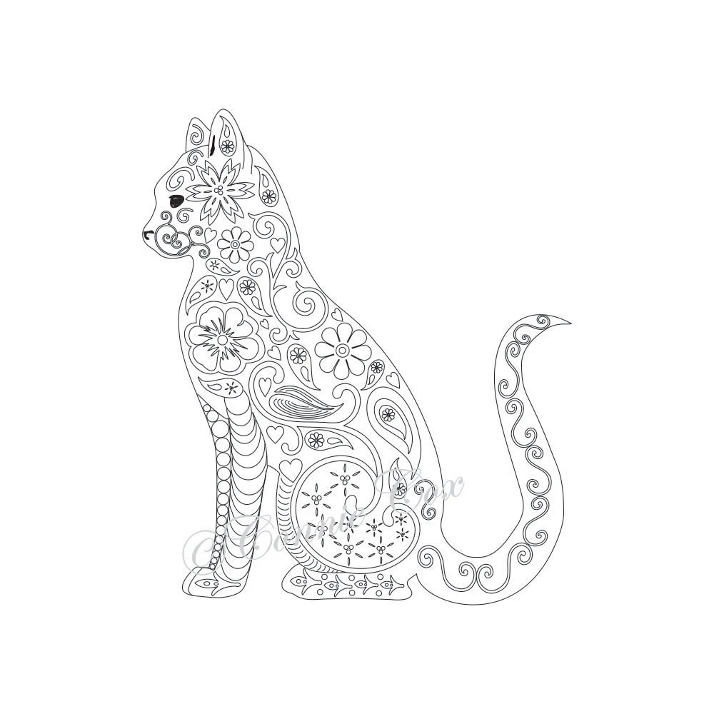 Cat Kitten Adult Coloring Page Instant PDF by ConnieCoxStudio