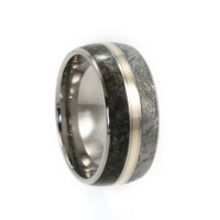 Meteorite Wedding Band Titanium Ring With a 14k by ...