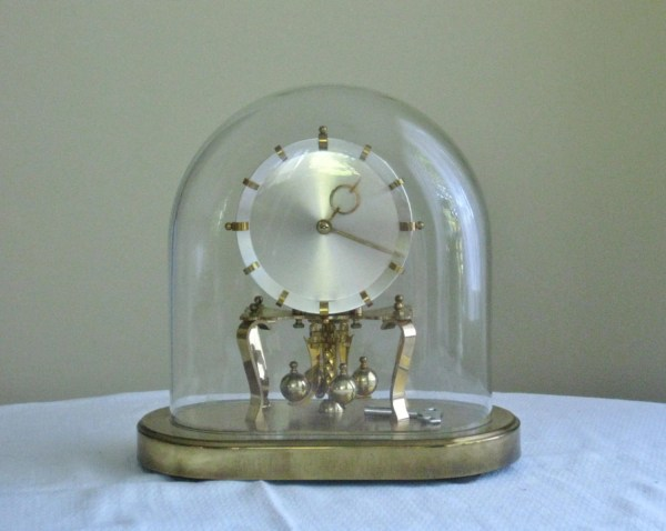 Western Germany Brass Clock With Glass Dome