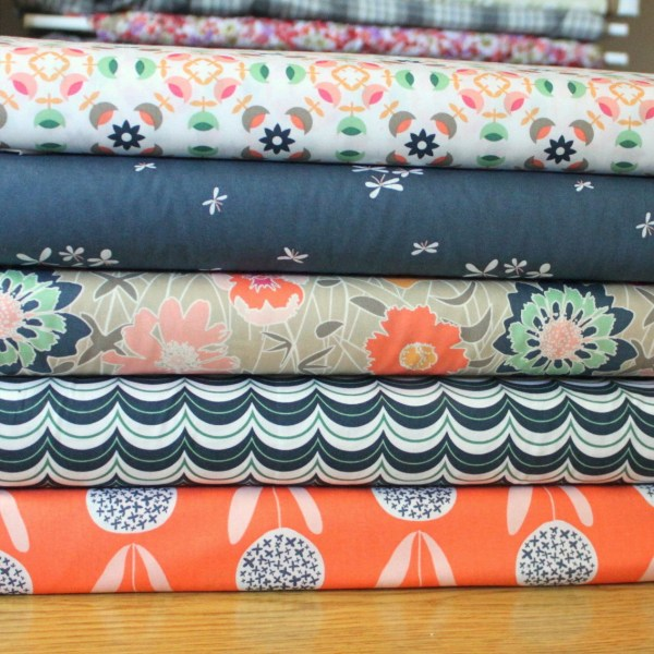 Coral Pink Navy Mint And Tan Floral Cotton Fabric Curiosities