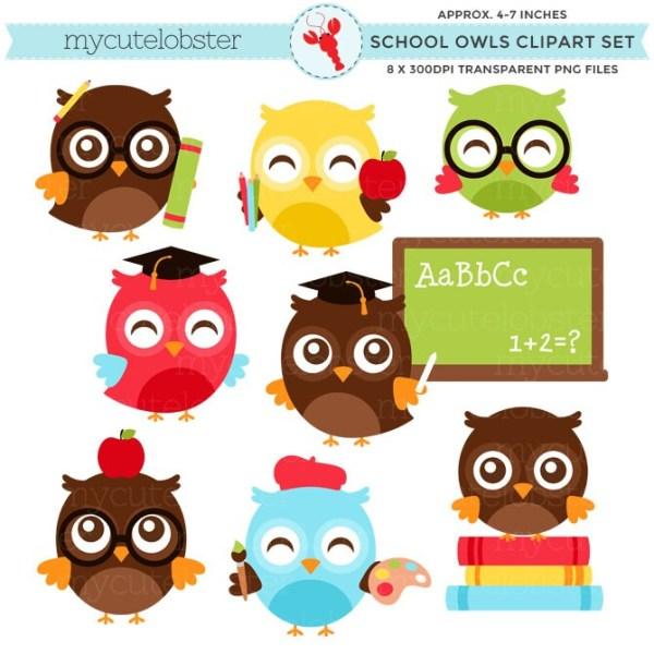 school owls clipart set clip art