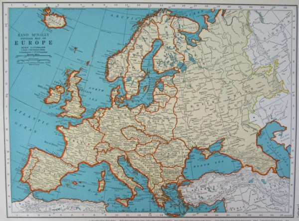 1938 EUROPE Map PreWWII Era Original McNally Aqua EUROPEAN