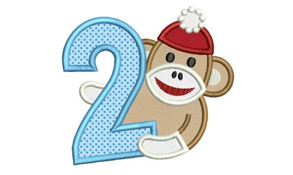 Sock Monkey Boy Happy Birthday Number Applique Embroidery