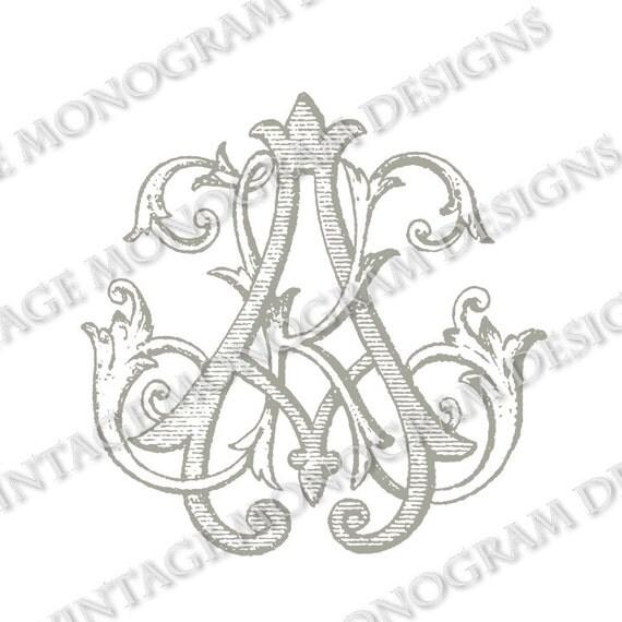 AK monogram or KA monogram vintage monogram by VintageMonogram