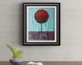 Red Lollipop Tree Signed Art Print of Signature Original By Rafi Perez