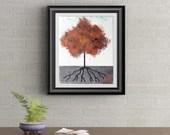 Orange Tuft Tree Signed Art Print of Signature Original By Rafi Perez