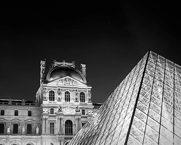 Paris Black And White Louvre Glass Pyramid