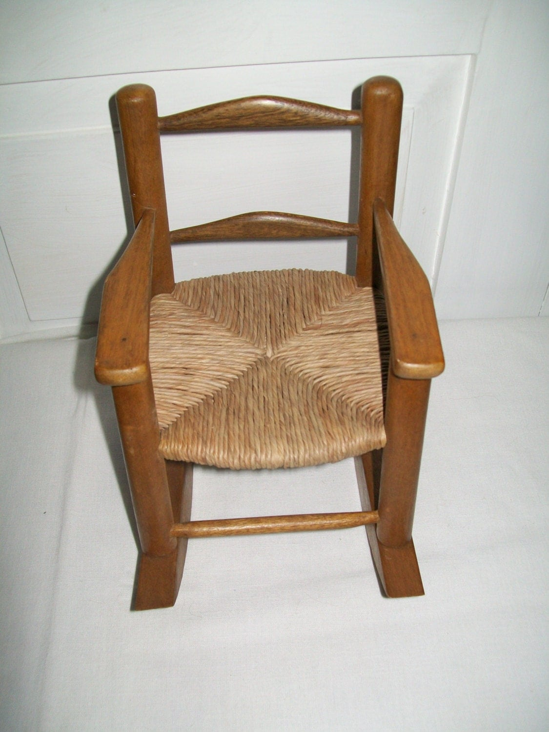 woven rocking chair folding daiso vintage miniature wooden doll with seat