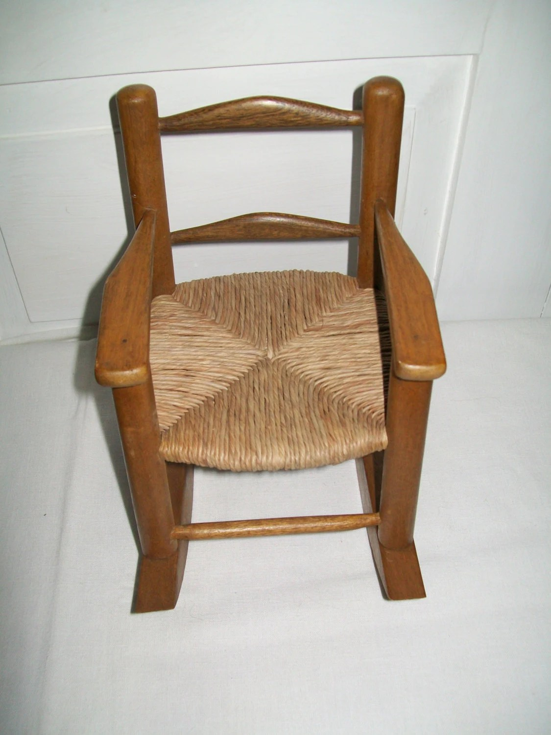 mini rocking chair gothic chairs vintage miniature wooden doll with woven seat