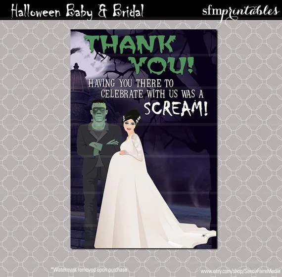Instant Download Halloween Baby Shower Party Thank You Card