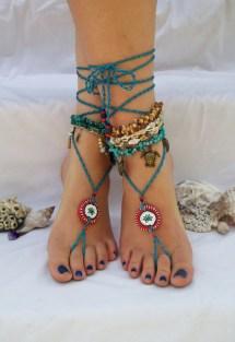 Lotus Blossom Beach Boho Gypsy Wedding Barefoot Sandals Bridal