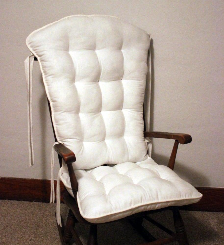Custom Farmhouse White Rocking Chair Cushion Set