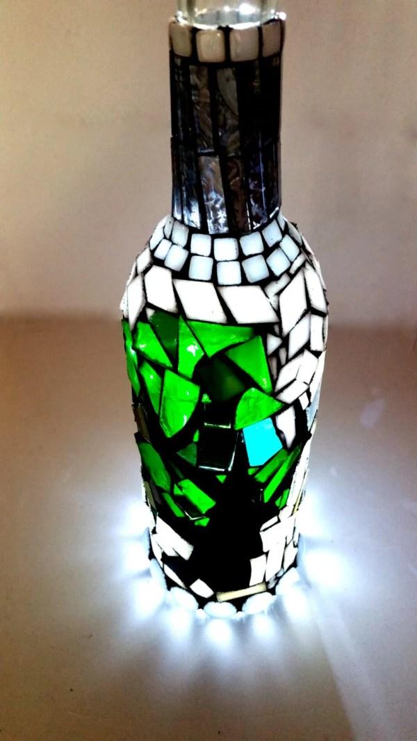 Mosaic Light Bottle. Stained Glass Boho Unique Art Lamp