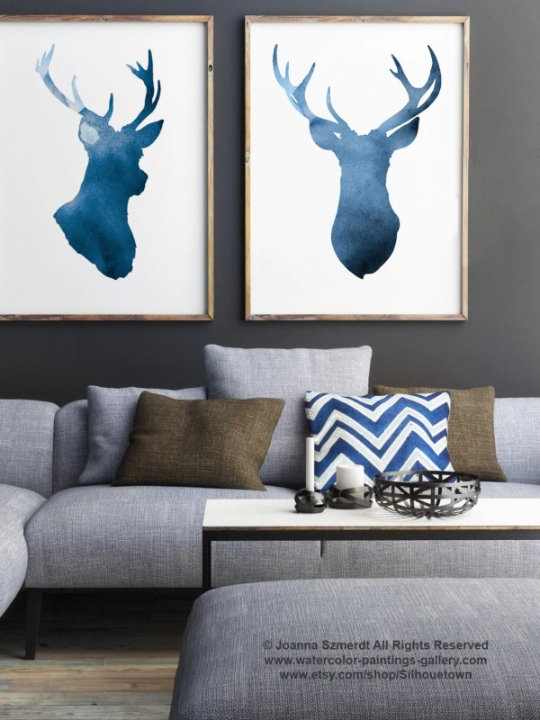 Navy Deer Set Of 2 Abstract Animal Giclee Art Print