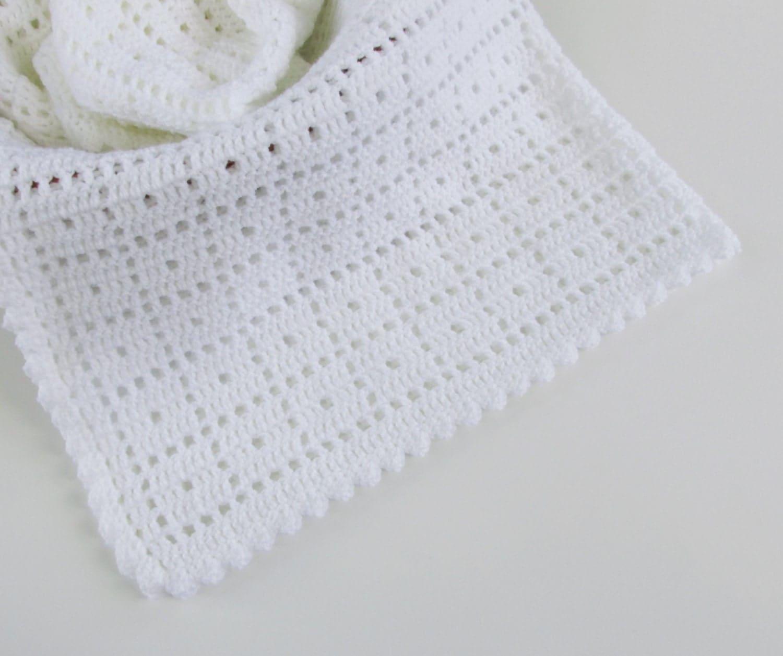 White Crochet Baby Blanket Baby Blanket 36x36 Security