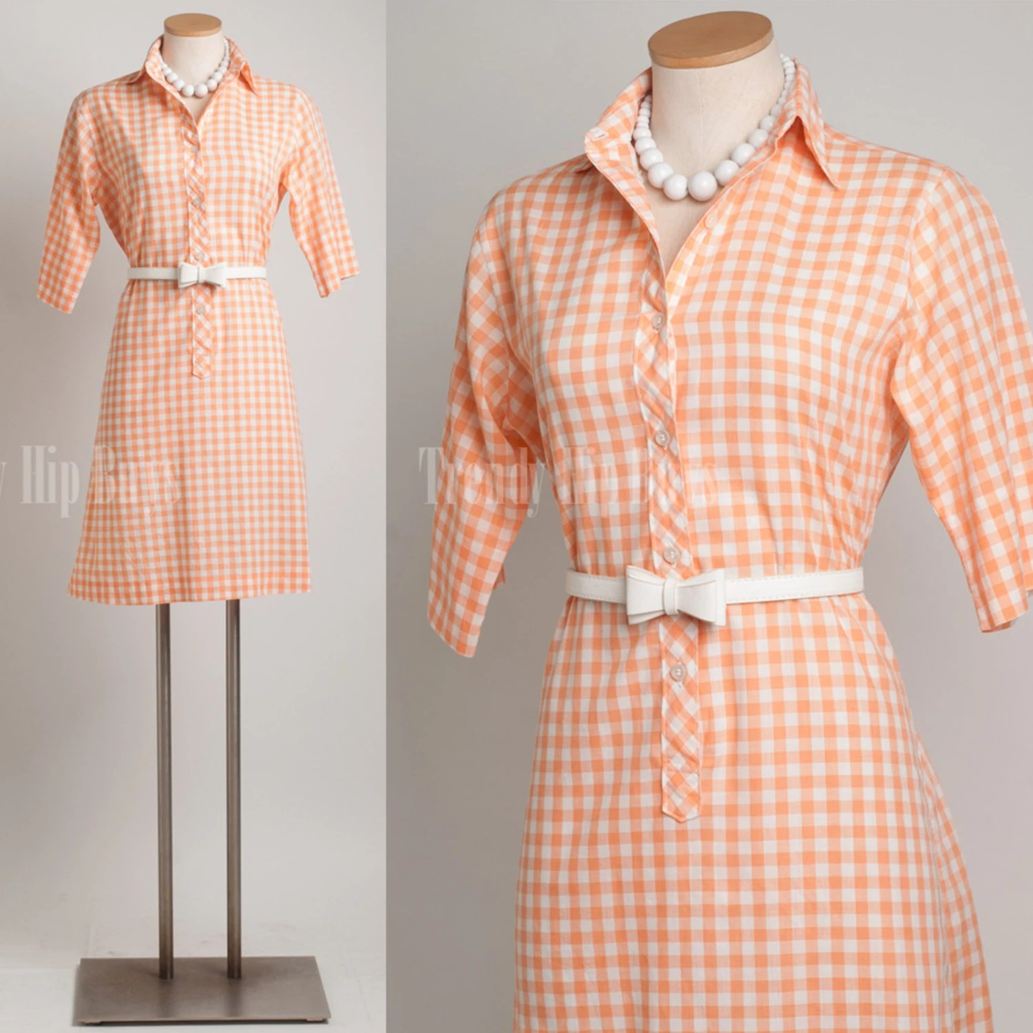 Vintage Orange Dress Mad Men Dress Gingham Dress 60s