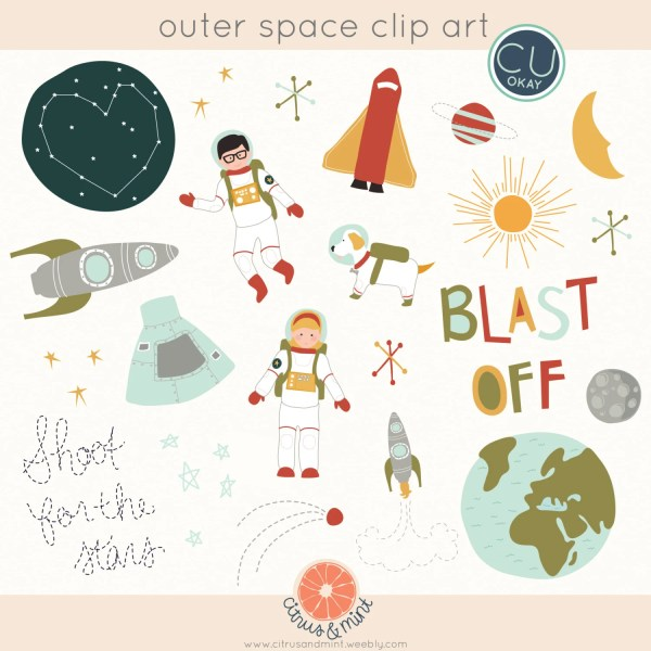 outer space clip art graphics hand-drawn