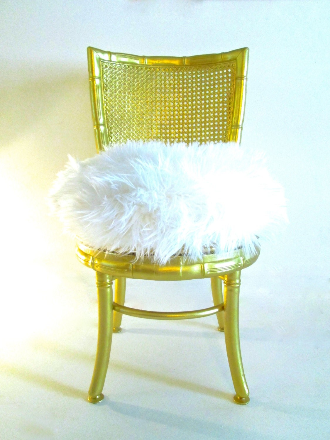 vanity chair white fur acrylic folding chairs set of 2 vtg italian faux bamboo swiveling boudoir gold