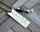 Dance Necklace - Hand Stamped Necklace - Dance More Necklace - Ballet Necklace - Purple Dance Necklace - Antique Bronze Necklace