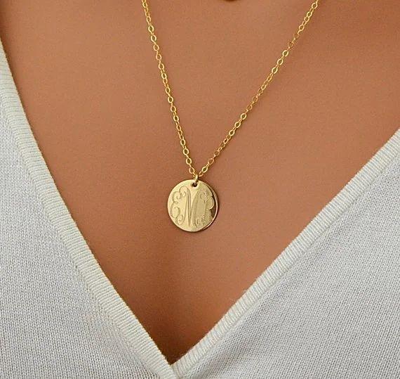 monogram necklace gold etsy