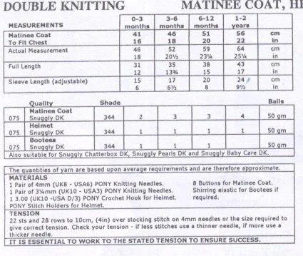 Knit Baby Matinee Coat and Bonnet booties Pattern by