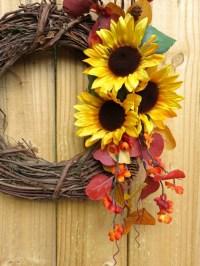 Sunflower Wreath Fall Wreath For Front Door Fall Dcor