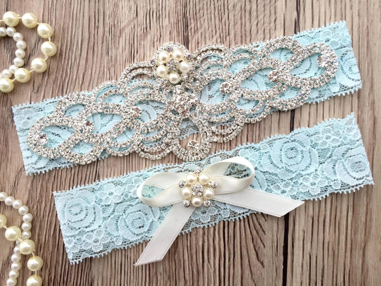 Blue Wedding Garter Belt Bridal Garter Set By ThePerleBridal
