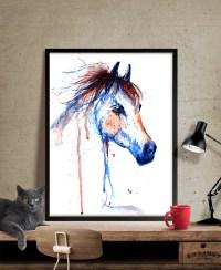 Horse Art Horse Decor Watercolor Horse painting Wall Art