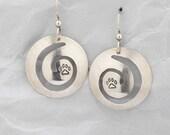 Silver dog paw earrings, ...