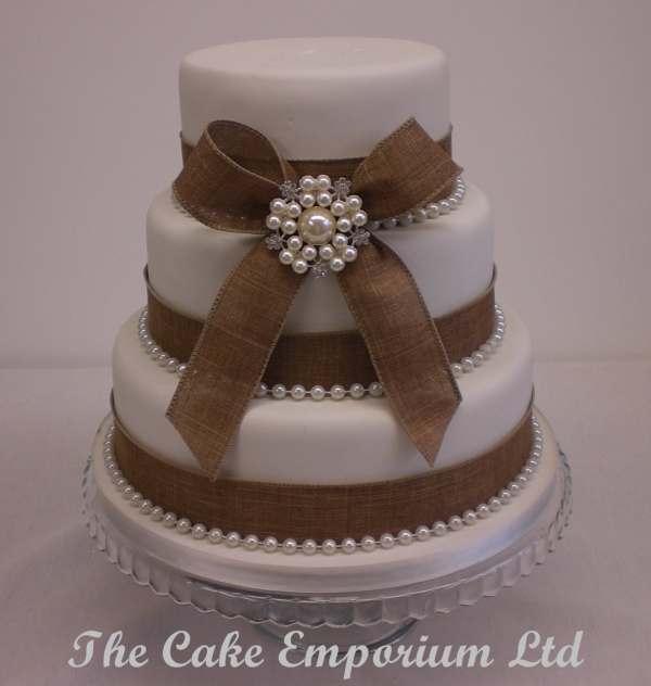 Vintage Wedding Cake Bridal Pearl Brooch Hessian Ribbon