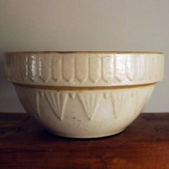Kitchen Tool Crock Best Countertops For Kitchens Antique Stoneware Bowl Mixing Dough Off White Salt