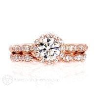 Moissanite Engagement Ring Wedding Set Wedding Band Diamond