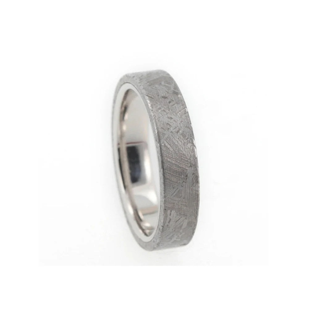Meteorite Wedding Band Platinum Ring Womens by jewelrybyjohan