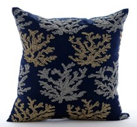 Navy Blue Accent Pillows 16x16 Square Cotton