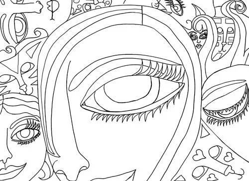 cat lovers coloring page coloring cats lady woman abstract