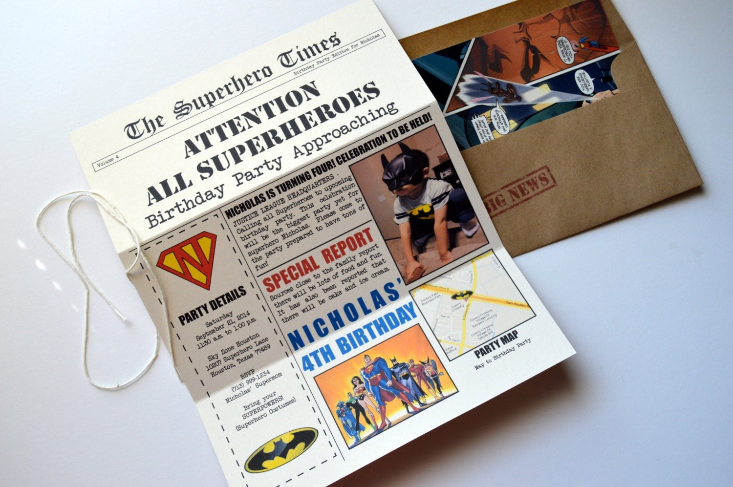 Superhero Newspaper Invitation DC Invitation Justice League