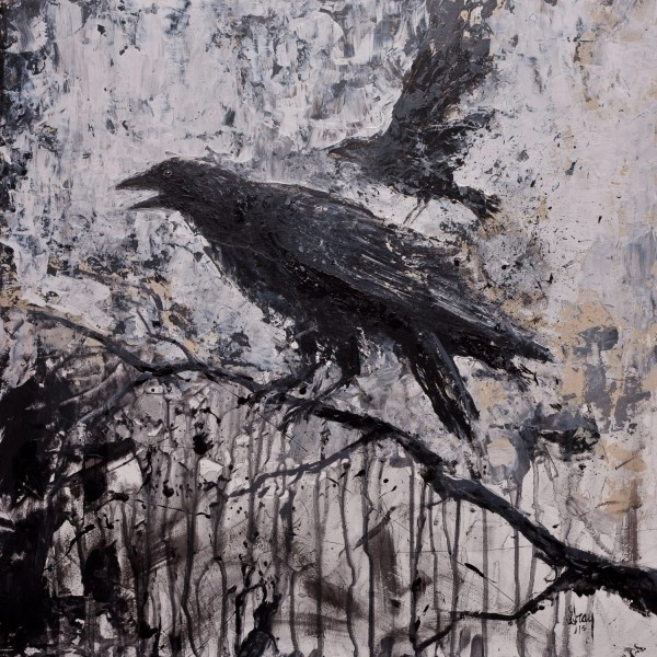 Stormy Dark Modern Gothic Crow Raven Giclee Print Stretched