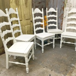 White Ladder Back Chairs Rush Seats Folding Chair Leg Protectors Chandeliers And Pendant Lights