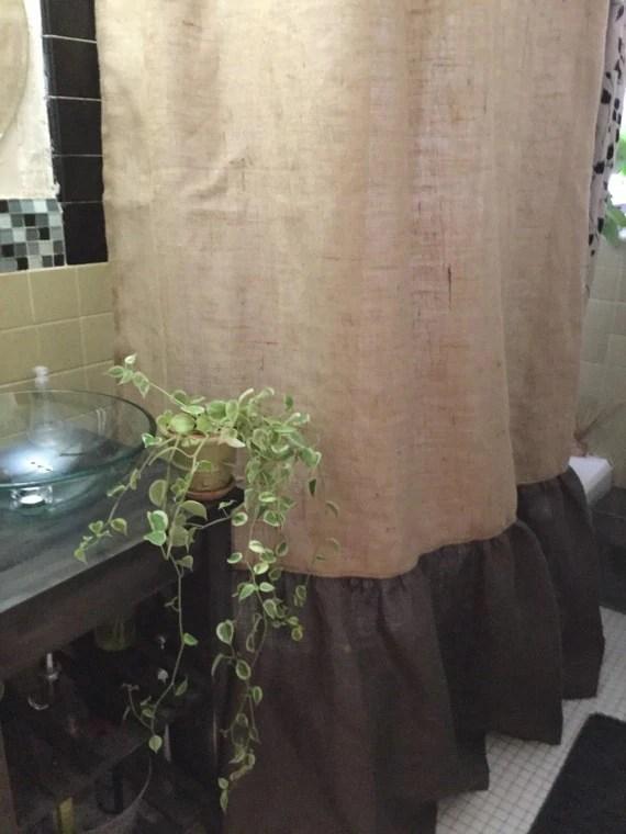 Burlap Shower Curtain NaturalDark Brown Burlap With
