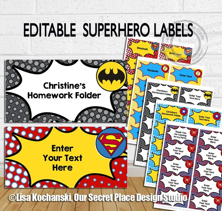 INSTANT DOWNLOAD Editable Superhero Labels Editable Tags