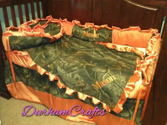Camo and Orange Embroidered Baby Bed Set with by DurhamCrafts