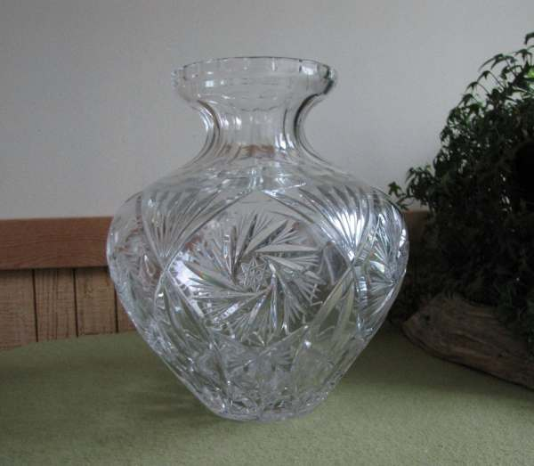 Crystal Cut Glass Vase Large Cut Glass Urn or Vase in a