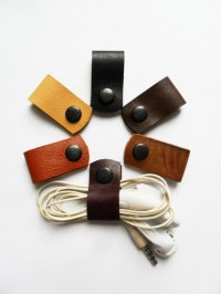 Headphone holder Cord keeper Leather earphone organizer Cable