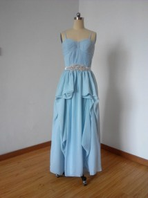 Spaghetti Straps Light Blue Chiffon Long Junior Bridesmaid