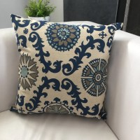 Indigo Blue and Gray Pillow Blue Medallion Pillow Cover