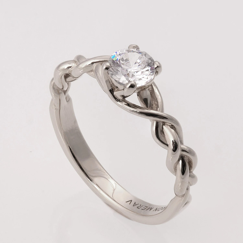 Braided Engagement Ring No2 14K White Gold And Diamond