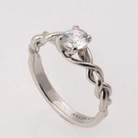 Braided Engagement Ring No.2 14K White Gold and Diamond
